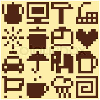 svg pattern object set of pixel objects vector pattern vector colourbox