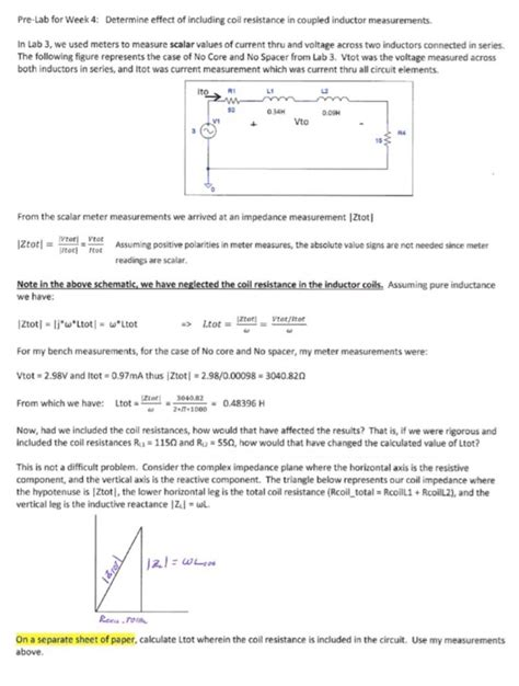 coupled inductor measurement determine effect of including coil resistance in c chegg