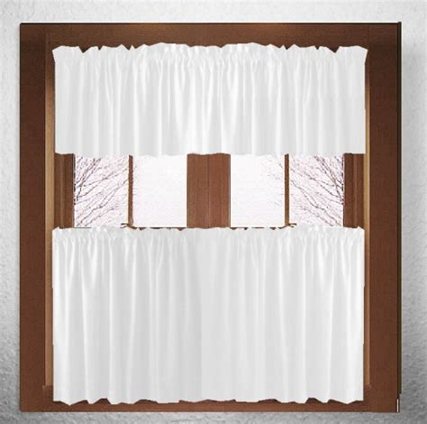 solid white kitchen cafe tier curtains