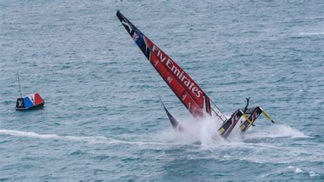 new still leads team on america s cup boat capsize spectacularly but team still