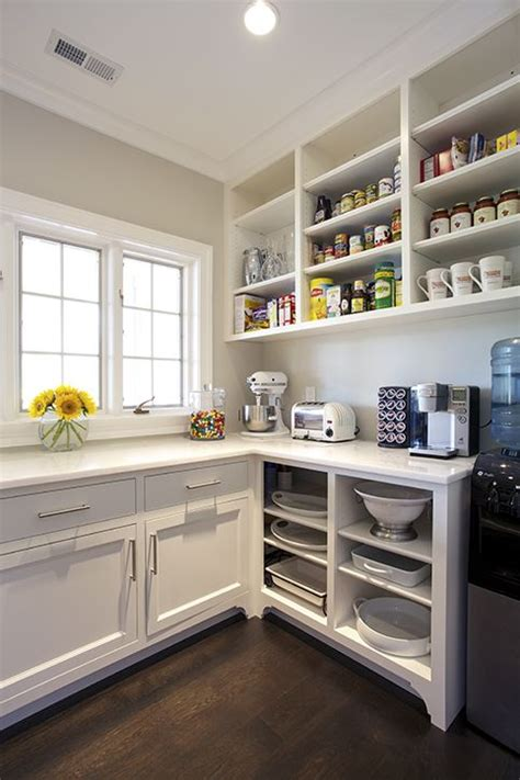 open shelving under cabinets kitchen pinterest open chic kitchen pantry features white shaker cabinets fitted