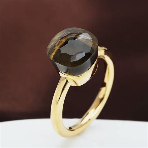 pomellato replica replica pomellato style ring in 18k gold with smoky quartz