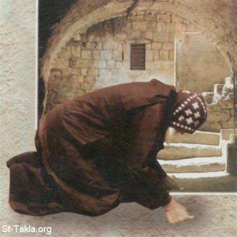 coptic monk stand bow prostrate the prayerful body of coptic