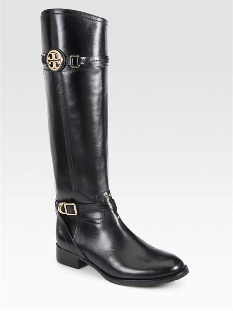 burch black boots lyst burch calista leather boots in black