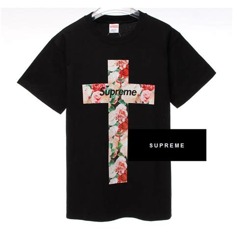 supreme t shirt supreme quot nyc floral cross quot t shirt black