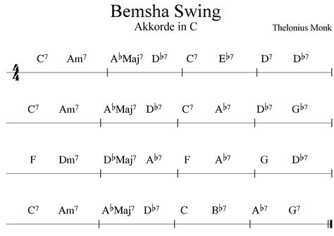 bemsha swing chords bemsha swing blues von thelonius monk als play along zum 220 ben