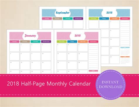 printable monthly calendar etsy 2018 half page monthly calendars printable and editable
