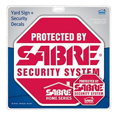 sabre home security alarm yard sign and 5 window decal