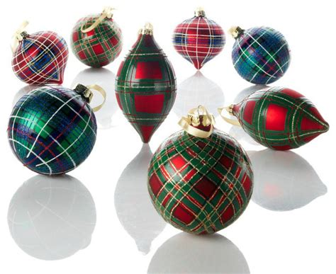 jeffrey banks plaid tidings glass ornaments traditional