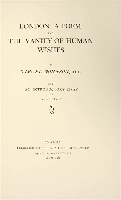 The Vanity Of Human Wishes by Johnson Samuel A Poem And The Vanity Of Human