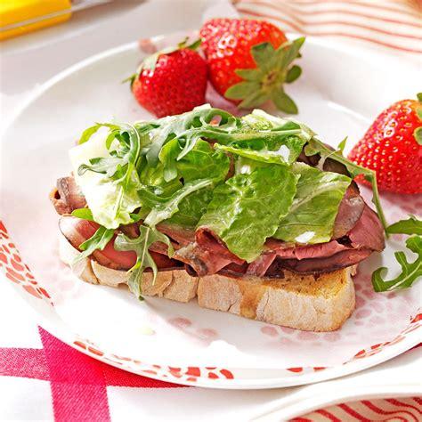 Fast Easy Dinner Open Roast Beef Sandwich by Open Faced Roast Beef Sandwiches Recipe Taste Of Home