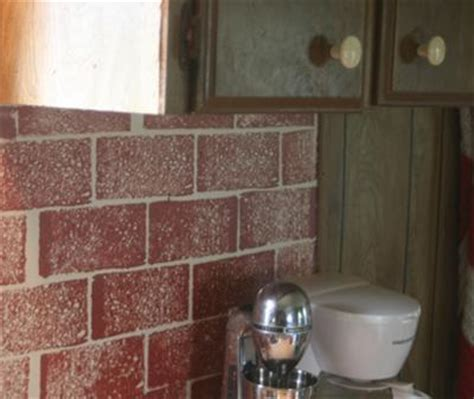faux brick backsplash in kitchen paint sponging finish quot faux brick quot on our kitchen backsplash