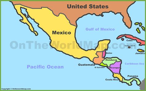 map of mexico central america mexico and central america map my