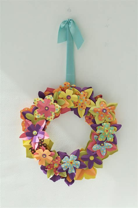 Paper Wreath Craft - caitlin wilson easter craft paper flower wreath