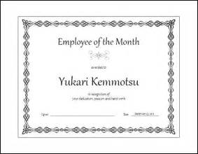 Of The Month Certificate Template by Employee Of The Month Certificate Template Free Formats