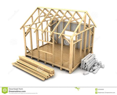 Housing Floor Plans Free by Frame House Construction Stock Illustration Illustration