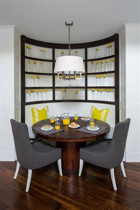 round dining table with banquette round breakfast room with gray curved banquette and nixon dining table contemporary