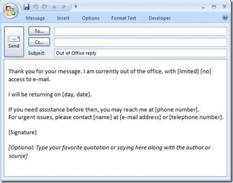 out of office message template how to create a quot out of office quot message that will
