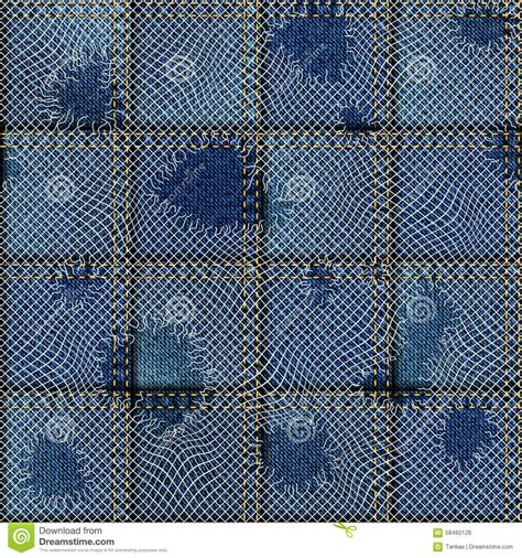 Patchwork Denim Fabric - patchwork of denim fabric stock vector image 58460126