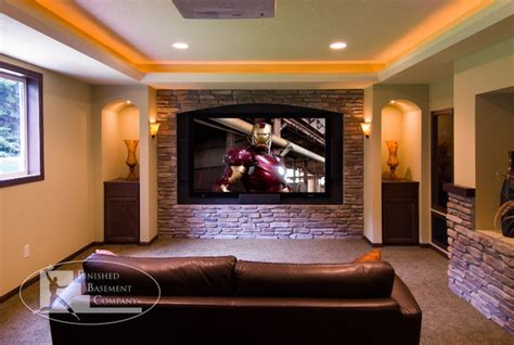 Basement Media Room Design Ideas - basement home theater traditional home theater minneapolis by finished basement company