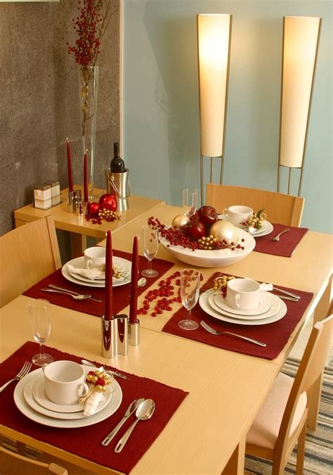 set table to dinner minimalist table setting in red and gold