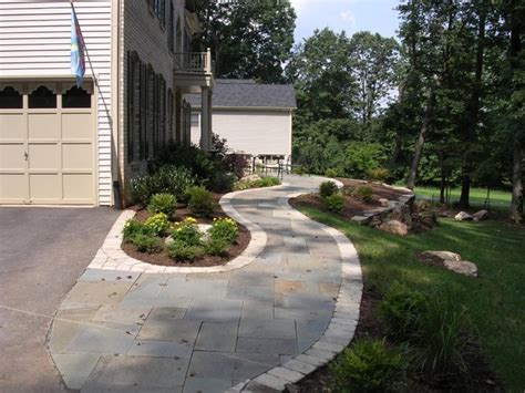 Landscaping Ideas Garage Area Walkway And Garage Landscaping Paving Stones