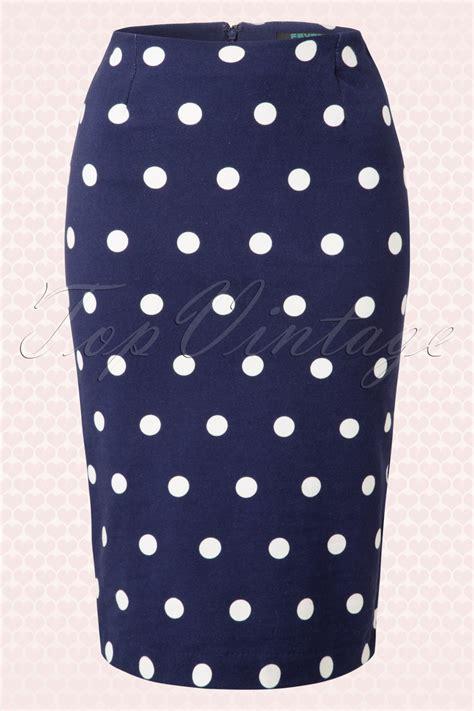 Supreme Polkadot Navy 50s joni polkadot pencil skirt in navy and white