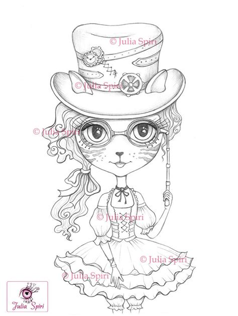 lulu kitty coloring pages coloring pages digital st digi cat girl steunk