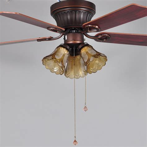 five leaves three light brown 220v luxury ceiling fan l