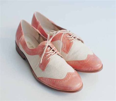vintage sweet pink two tone oxford lace up shoes