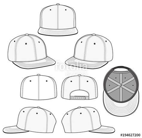 Quot Snapback 2018 Vector Illustration Flat Sketches Template Quot Stock Image And Royalty Free Vector Hat Template Illustrator