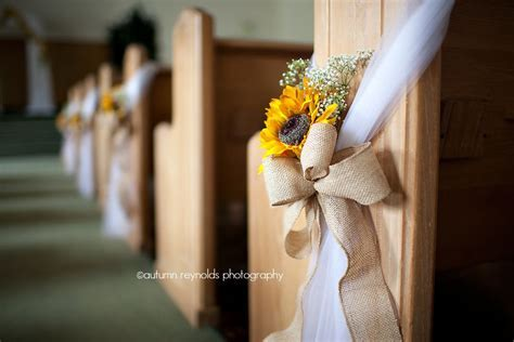 sunflower, tulle, burlap pew bow   Stephanie's Country