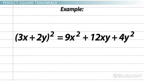 pattern expression definition perfect square trinomial definition formula exles