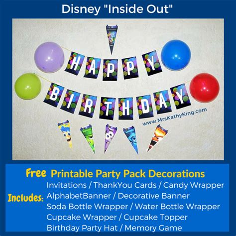 free printable inside out thank you cards free inside out printable party decoration pack