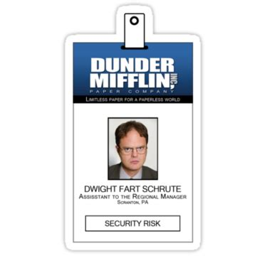 """""""dwight schrute the office id badge shirt"""" stickers by"""