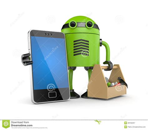 Mainan Robot Mobile Telephone mobile phone with robot royalty free stock photography