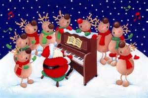 santa and singing reindeers christmas illustration