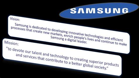mission statement of samsung company mission vision statements of top companies