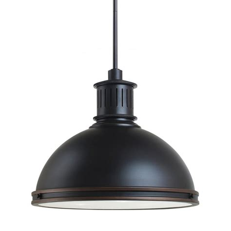 Barn Pendant Lights Shop Sea Gull Lighting Pratt 16 In Autumn Bronze Barn Single Warehouse Pendant At Lowes