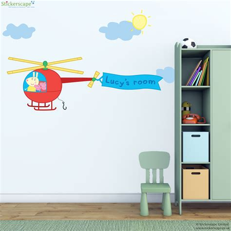 helicopter wall stickers personalised peppa pig helicopter wall sticker