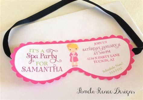 spa mask invitation template printable spa mask invitation with your choice of
