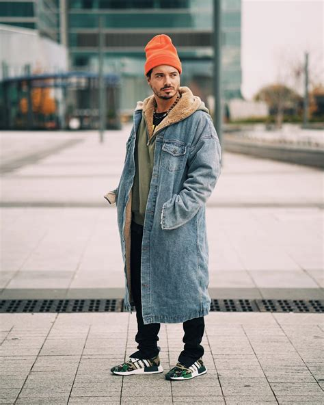 j balvin jean jacket j balvin wears fear of god denim coat hoodie opening