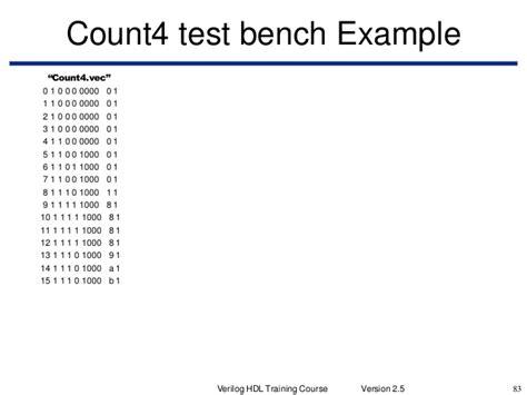 verilog test bench exle verilog hdl training course