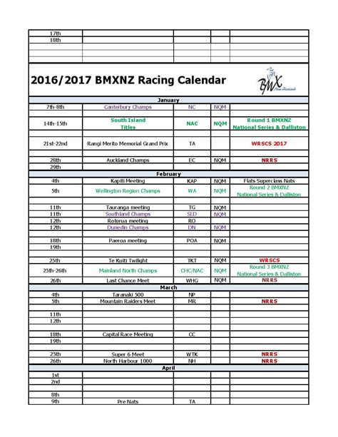 Calendar 2016 February Nz 2016 2017 Bmxnz Race Calendar Bmx Net Nz