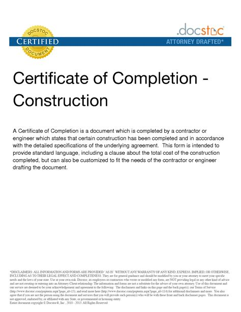 certificate of completion of template 6 best images of construction project completion letter