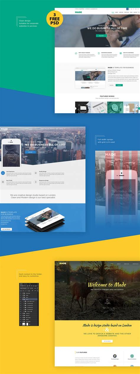design free download psd clean corporate website design free psd template download