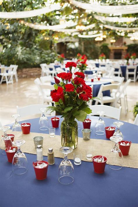navy blue and red wedding   Centerpiece/ Reception Ideas