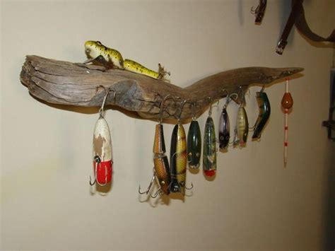 find driftwood to hang old fishing tackle ben s fishing wall pinterest cases fishing and