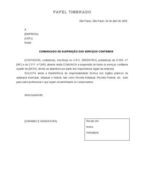 Suspensão dos serviços Contábeis (Modelo)