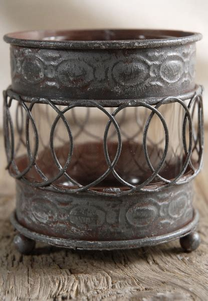 vintage metal votive candle holder 3 5in